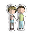 young couple avatars drawing vector image vector image
