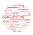 Sexuality in different languages vector image