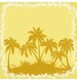 Tropical Palms and Grass Silhouettes vector image