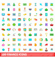 100 finance icons set cartoon style vector image vector image