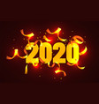 2020 happy new year greeting with gold confetti vector image vector image
