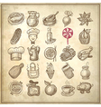 25 sketch doodle icons food vector image