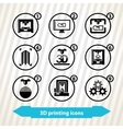 3d printing icons vector image vector image
