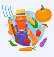 a farmer holding a garden fork vector image vector image