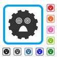afraid smiley gear framed icon vector image vector image