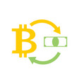 Bitcoin and dollar exchange business icon