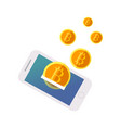 bitcoin flies out of the phone vector image vector image