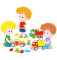 boys playing with toy cars vector image vector image