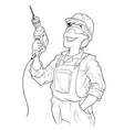 builder with drill vector image vector image
