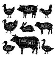 butcher animals logo chicken goat turkey cow pig vector image vector image