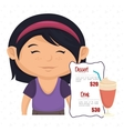 cartoon girl menu food drink vector image