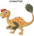 cartoon smiling oviraptor dinosaur vector image vector image