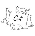 cat abstract lines line set silhouette vector image vector image