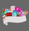 christmas ribbon for text with sweets paper sign vector image
