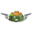 cowboy cartoon green rock sample of high grade vector image vector image
