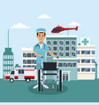 doctor with wheelchair outside hospital vector image vector image