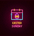 easter sunday neon label vector image vector image