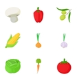 Farm vegetables icons set cartoon style vector image vector image