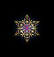 flower life symbol gold sacred geometry logo vector image vector image