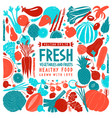 fun hand drawn vegetables and fruits design vector image