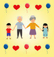 grandparents with children hearts and balloons vector image