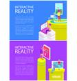 interactive virtual reality vector image vector image