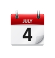 July 4 flat daily calendar icon Date and vector image