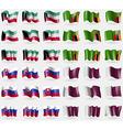 Kuwait Zambia Slovakia Qatar Set of 36 flags of vector image vector image