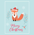 merry christmas cute card with fox in santa hat vector image vector image