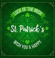 patricks day green shamrock clover irish holiday vector image