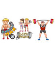 people doing weightlifting on white background vector image vector image
