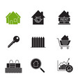 real estate market glyph icons set vector image vector image