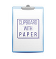 realistic clipboard a4 size top view vector image vector image