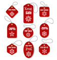 red christmas holidays tags vector image vector image