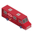 red food truck icon isometric style vector image vector image