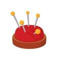 Red pin cushion with pins cartoon icon vector image vector image