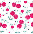 seamless pattern with cute cherries vector image vector image