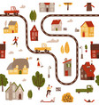 seamless pattern with simple bright houses trees vector image vector image