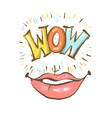 sexy open female mouth smiling and wow speech vector image vector image