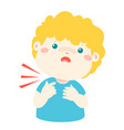 Sick boy sore throat cartoon vector image