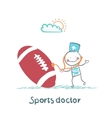 Sports doctor listens to a stethoscope football vector image vector image