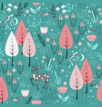 spring pattern with deer birds flowers vector image