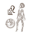 stylized zodiac sign leo vector image vector image