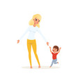 tired mother and her screaming little son vector image vector image