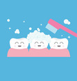 tooth gum icon three cute funny cartoon smiling vector image vector image