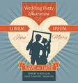 wedding love invitation card with happy couple in vector image vector image