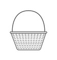 wicker basket icon in black flat outline design vector image