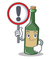 with sign wine bottle character cartoon vector image