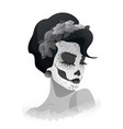 woman with sugar skull makeup and wreath of roses vector image