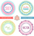 set of hand-drawn ethnic frames vector image